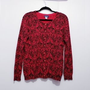 Basic Editions Red Floral Printed Cardigan Size M